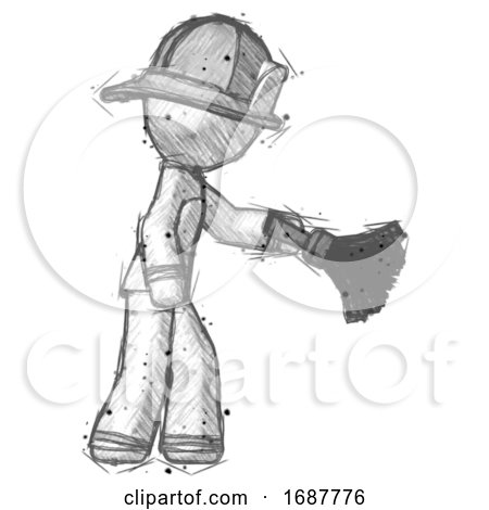 Sketch Firefighter Fireman Man Dusting with Feather Duster Downwards by Leo Blanchette