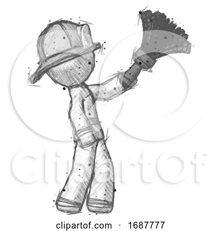 Sketch Firefighter Fireman Man Dusting with Feather Duster Upwards by Leo Blanchette