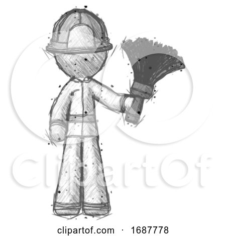 Sketch Firefighter Fireman Man Holding Feather Duster Facing Forward by Leo Blanchette