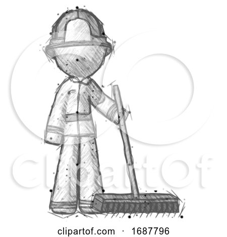 Sketch Firefighter Fireman Man Standing with Industrial Broom by Leo Blanchette