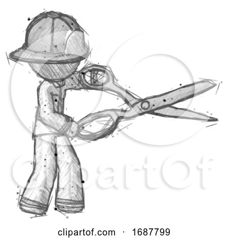 Sketch Firefighter Fireman Man Holding Giant Scissors Cutting out Something by Leo Blanchette