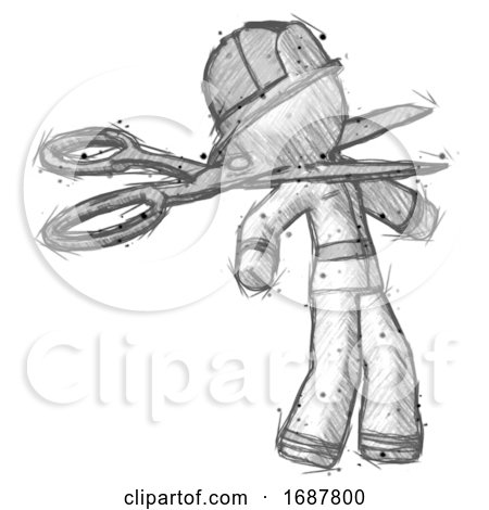 Sketch Firefighter Fireman Man Scissor Beheading Office Worker Execution by Leo Blanchette