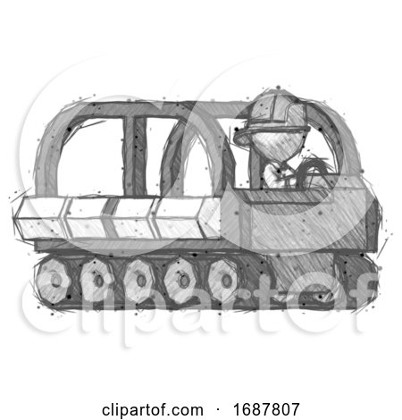 Sketch Firefighter Fireman Man Driving Amphibious Tracked Vehicle Side Angle View by Leo Blanchette