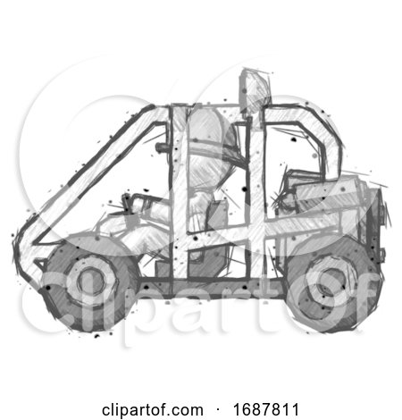 Sketch Firefighter Fireman Man Riding Sports Buggy Side View by Leo Blanchette