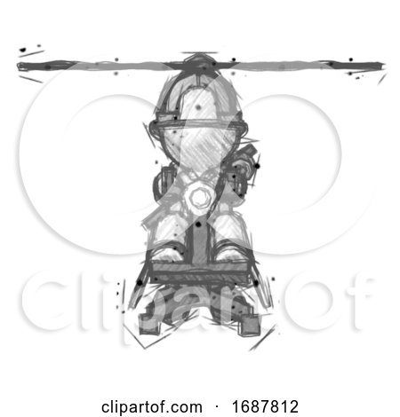 Sketch Firefighter Fireman Man Flying in Gyrocopter Front View by Leo Blanchette