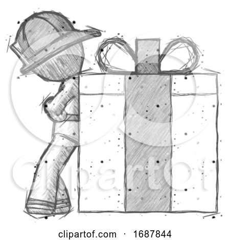 Sketch Firefighter Fireman Man Gift Concept - Leaning Against Large Present by Leo Blanchette