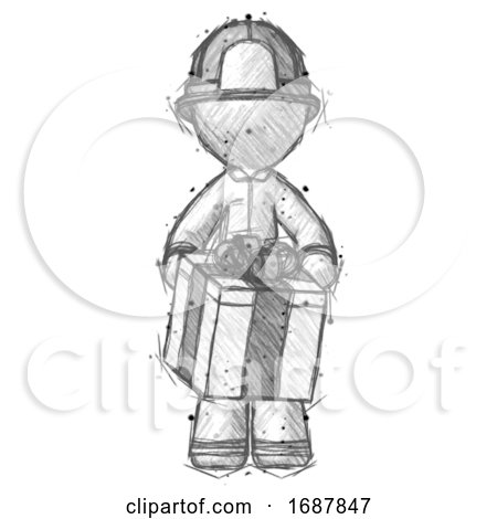 Sketch Firefighter Fireman Man Gifting Present with Large Bow Front View by Leo Blanchette