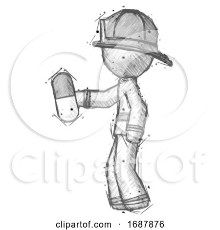 Sketch Firefighter Fireman Man Holding Pill Walking to Left by Leo Blanchette