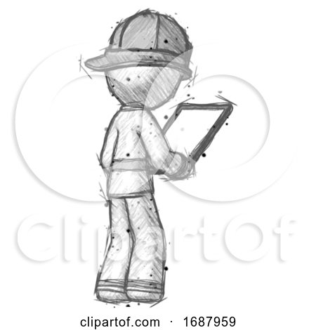 Sketch Firefighter Fireman Man Looking at Tablet Device Computer Facing Away by Leo Blanchette