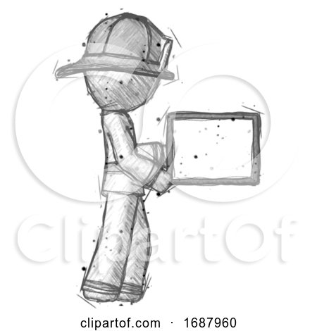 Sketch Firefighter Fireman Man Show Tablet Device Computer to Viewer, Blank Area by Leo Blanchette