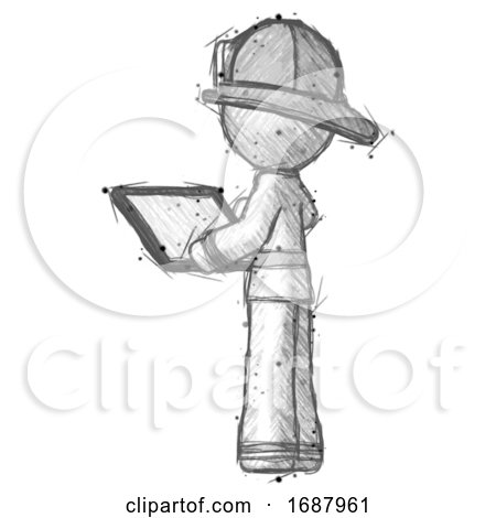 Sketch Firefighter Fireman Man Looking at Tablet Device Computer with Back to Viewer by Leo Blanchette