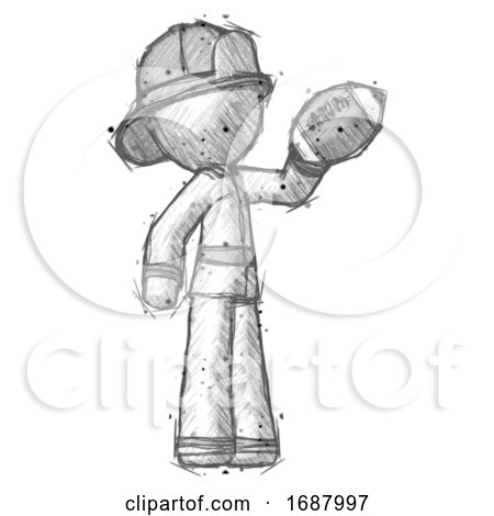 Sketch Firefighter Fireman Man Holding Football up by Leo Blanchette