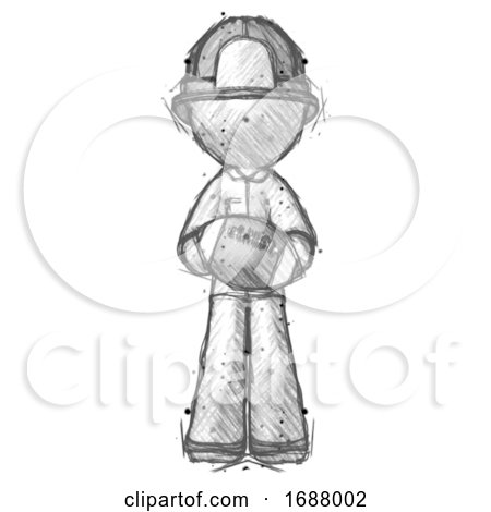 Sketch Firefighter Fireman Man Giving Football to You by Leo Blanchette