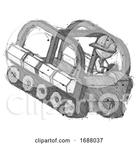Sketch Firefighter Fireman Man Driving Amphibious Tracked Vehicle Top Angle View by Leo Blanchette