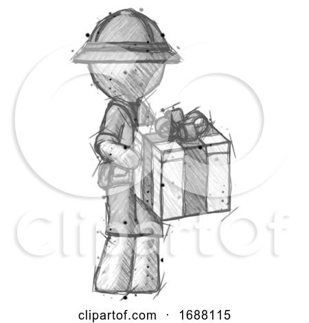 Sketch Explorer Ranger Man Giving a Present by Leo Blanchette