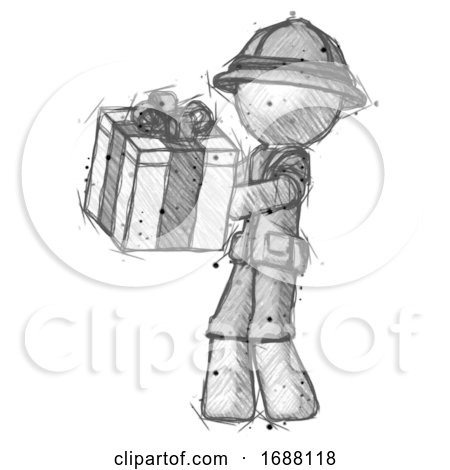 Sketch Explorer Ranger Man Presenting a Present with Large Bow on It by Leo Blanchette