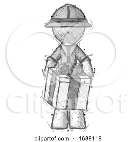 Sketch Explorer Ranger Man Gifting Present with Large Bow Front View by Leo Blanchette