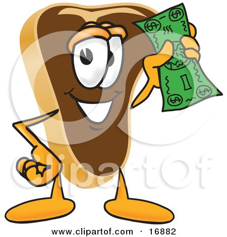 Clipart Picture of a Meat Beef Steak Mascot Cartoon Character Waving a Green Dollar Bill by Toons4Biz