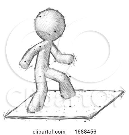 Sketch Design Mascot Man on Postage Envelope Surfing Posters, Art Prints