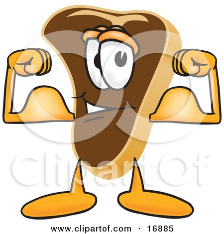 Clipart Picture of a Meat Beef Steak Mascot Cartoon Character Flexing His Strong Arm Muscles by Toons4Biz