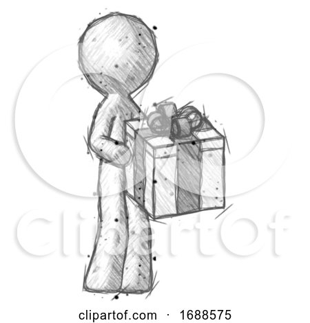 Sketch Design Mascot Man Giving a Present by Leo Blanchette