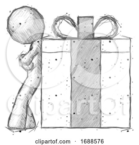 Sketch Design Mascot Man Gift Concept - Leaning Against Large Present by Leo Blanchette