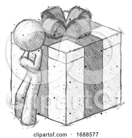 Sketch Design Mascot Man Leaning on Gift with Bow Angle View by Leo Blanchette