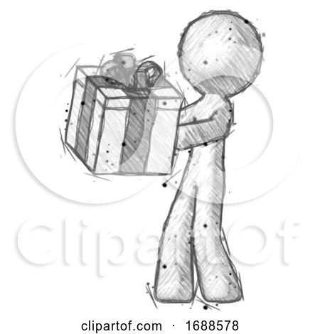 Sketch Design Mascot Man Presenting a Present with Large Bow on It by Leo Blanchette