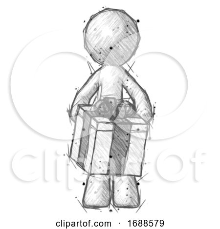 Sketch Design Mascot Man Gifting Present with Large Bow Front View by Leo Blanchette
