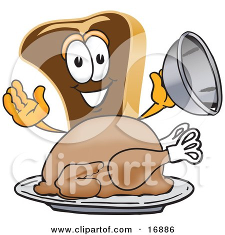 Clipart Picture of a Meat Beef Steak Mascot Cartoon Character Serving a Thanksgiving Turkey on a Platter by Toons4Biz