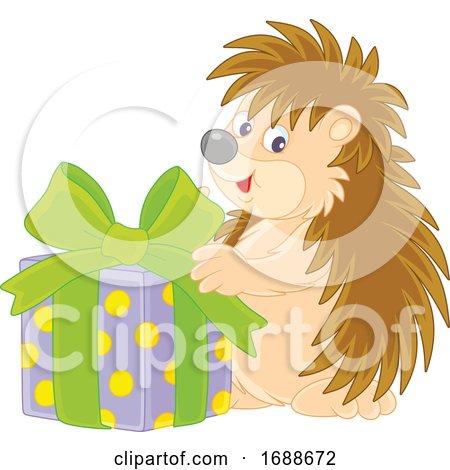Hedgehog Holding a Christmas Gift by Alex Bannykh