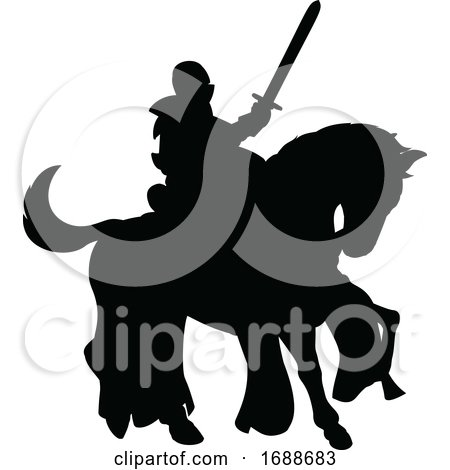 Knight on Horse Silhouette by AtStockIllustration
