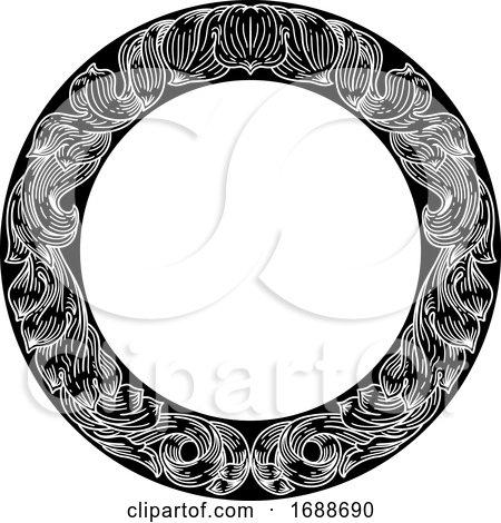 Frame Laurel Leaf Crest Floral Pattern Motif by AtStockIllustration