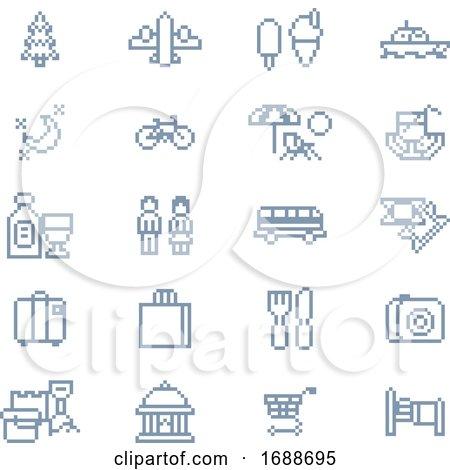 Pixel Art Tourist Icons 8 Bit Game Pixel Art by AtStockIllustration