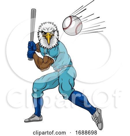 Eagle Baseball Player Mascot Swinging Bat at Ball by AtStockIllustration