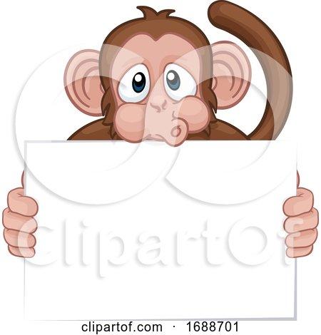 Monkey Cartoon Character Animal Holding Sign by AtStockIllustration