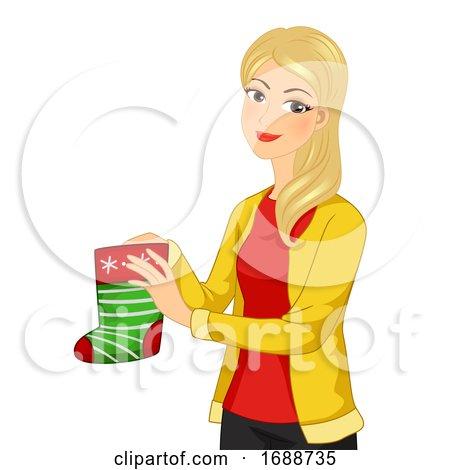 Girl Christmas Sock Gift Illustration by BNP Design Studio
