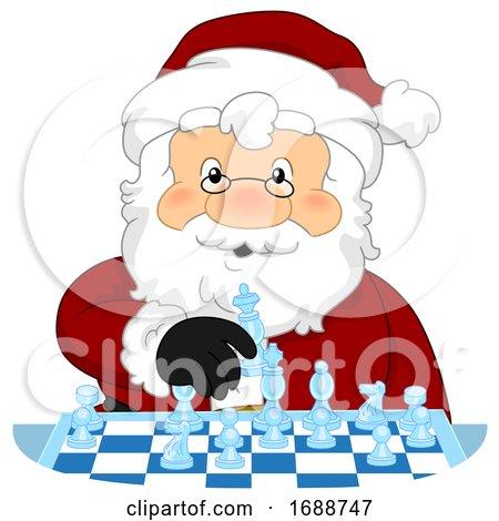 Santa Claus Play Chess Illustration by BNP Design Studio