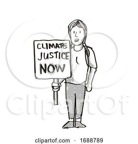 Young Student Protesting Climate Justice Now on Climate Change Drawing by patrimonio