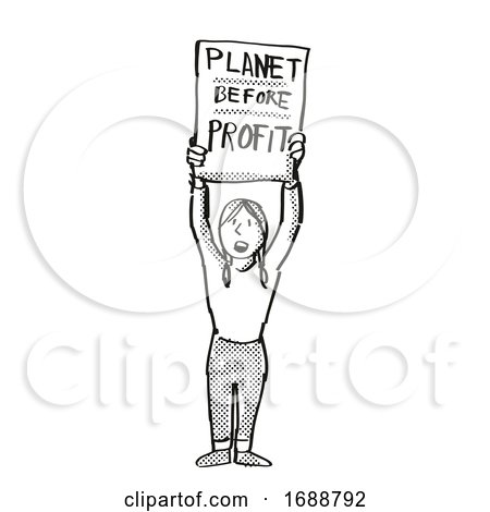 Young Student Protesting Planet Before Profit on Climate Change Drawing by patrimonio