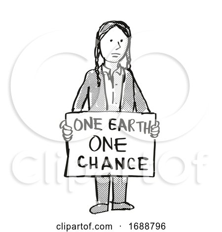Young Student Protesting One Earth One Chance on Climate Change Drawing by patrimonio