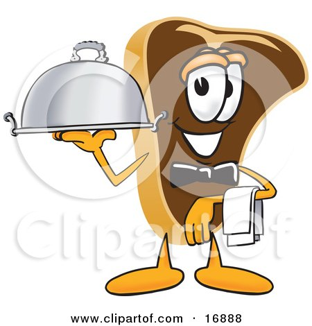 Clipart Picture of a Meat Beef Steak Mascot Cartoon Character Serving a Dinner Platter While Waiting Tables by Toons4Biz