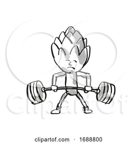 Artichoke Healthy Vegetable Lifting Barbell Cartoon Retro Drawing by patrimonio