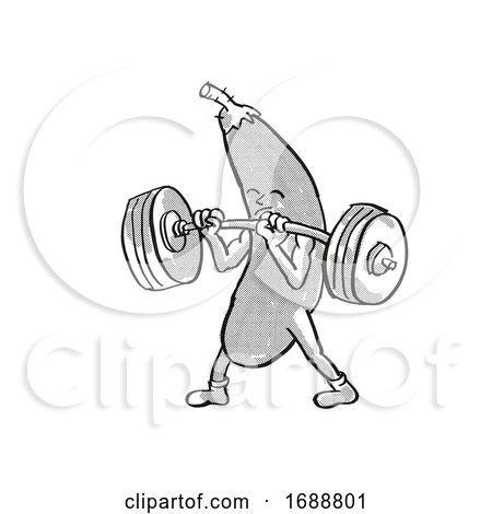 Eggplant or Aubergine Healthy Vegetable Lifting Barbell Cartoon Retro Drawing by patrimonio
