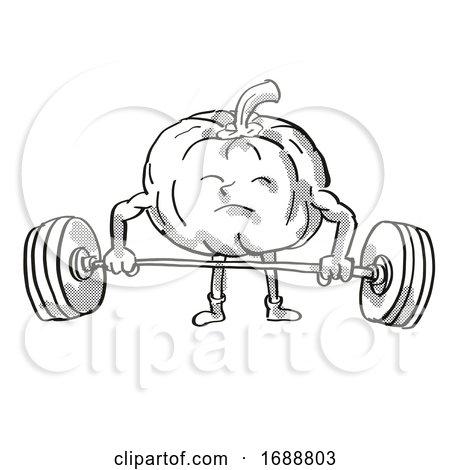 Pumpkin or Squash Healthy Vegetable Lifting Barbell Cartoon Retro Drawing by patrimonio