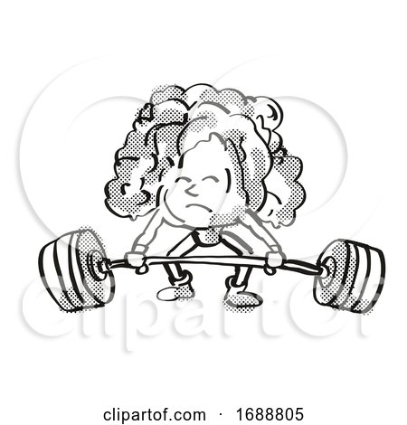 Lettuce Healthy Vegetable Lifting Barbell Cartoon Retro Drawing by patrimonio
