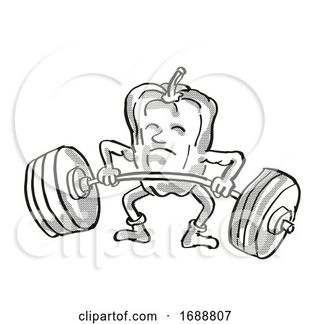 Bell Pepper or Capsicum Healthy Vegetable Lifting Barbell Cartoon Retro Drawing by patrimonio