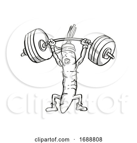 Carrot Healthy Vegetable Lifting Barbell Cartoon Retro Drawing by patrimonio