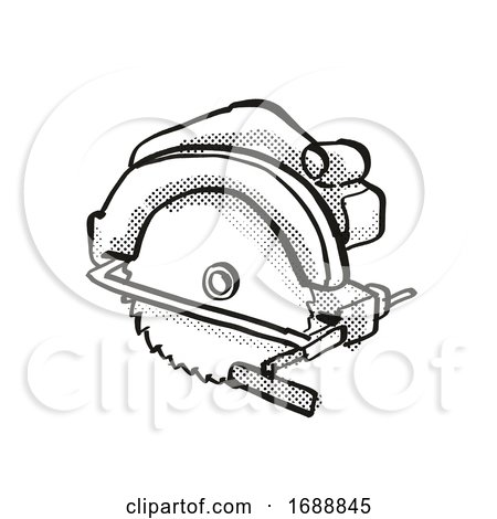 Circular Saw Power Tool Equipment Cartoon Retro Drawing Posters, Art Prints
