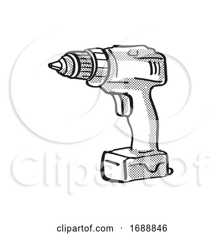 Portable Hand Drill Power Tool Equipment Cartoon Retro Drawing Posters, Art Prints